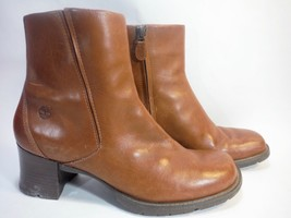 TIMBERLAND brown leather side zip chunky heel ankle boots 10 - $34.60