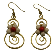 Gift For Any Budget Costume White Turquoise Flower Dangle Earrings - £5.26 GBP
