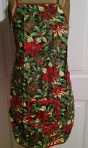 Christmas Apron Home Made Small Adult Child Poinsettia Holly Bib Pocket - $8.59