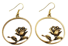 Gold Metal Dangle Earrings w/ Artistically Rose Designed Earrings - $5.58