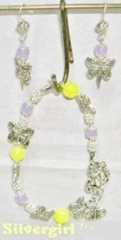 Lemon Lilac Antique Silver Plate Butterfly Bracelet Set