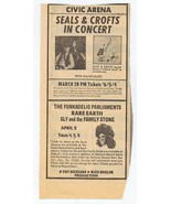 ORIGINAL Vintage 1974 Seals & Crofts Sly Family Stone Pittsburgh Newspap... - $19.79