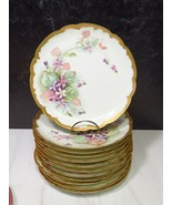 "12 Antique Haviland Limoges Hand Painted Purple Violets Gold Plates 8.5""... - $245.52"