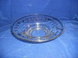 "Crystal Floral Etched 9 7/8"" Console Bowl - Unknown Maker - $0.98"