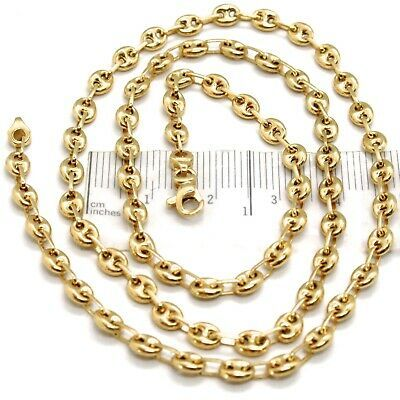 18K YELLOW GOLD BIG MARINER CHAIN 4 MM, 24 INCHES, ITALY MADE, ROUNDED NECKLACE
