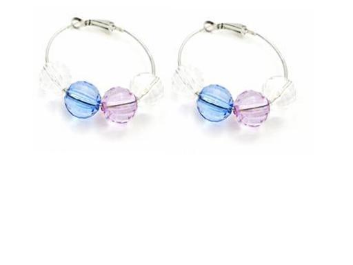 Girl Friend Gift Round Beads Soothing Color Jewelry Hoop Earrings Gift