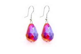 Chinese Siam AB Crystals Teardrop Earrings Affordable Cute Earrings