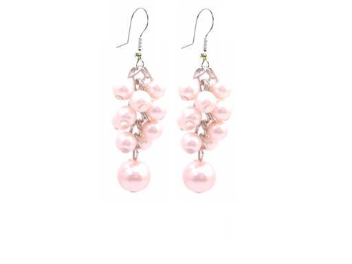 Dance Jewelry Pink Pearls Earrings Grape Bunch Pearls Earrings