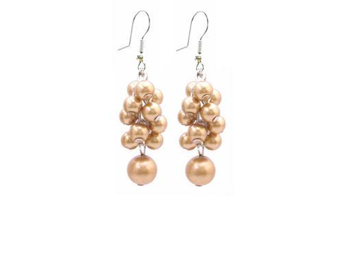 Under $5 Bridesmaid Wedding Jewelry Golden Grape Pearls Earrings