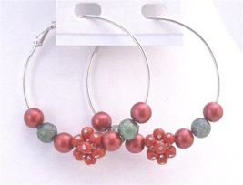 Hoop Earrings Christmas Earrings Fancy Beads Red Green Flower Beads - $5.58