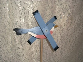 Whirligig, Blue Bird Robin. Handcrafted,handpainted,wind mobile,windspi... - $35.00