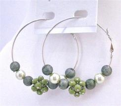 Fashionable Fabulous Hoop Earrings Dark Green Beads Hoop Earrings - $5.58
