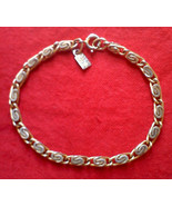 EMMONS Gold Tone BRACELET 7.5 inch Swirled Links w/ C Clasp Signed Hang Tag - $12.84