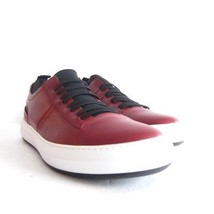 P-296239 New Salvatore Ferragamo Red Leather Sneaker Shoes Size US 7.5D ... - $331.10