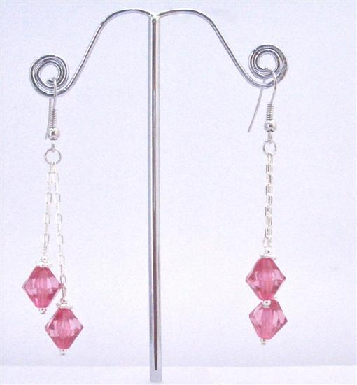 Fuchsia Chinese Crystals make Great Gifts Dangling Party Earrings