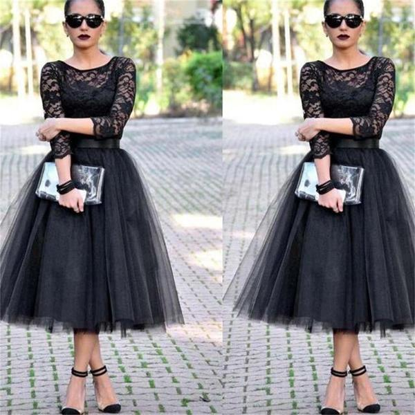 Lace black a line long sleeves evening party affordable prom dresses pd0039