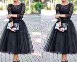 Lace black a line long sleeves evening party affordable prom dresses pd0039 thumb155 crop