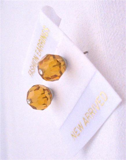 Stud Earrings Swarovski Topaz Earrings Jewelry