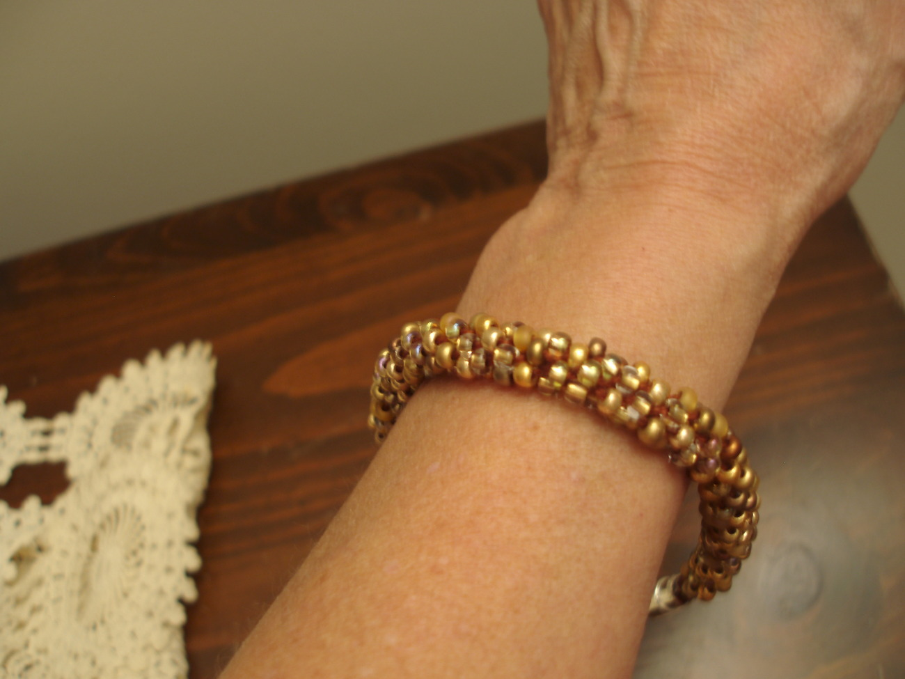 """Kumihimo Beaded Bracelet 8"""" in shades of gold dust"""
