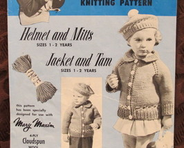 Vintage Mary Maxim Knitting Patterns CHILDREN Ages 1 - 2 Jacket Tam Mitts Cap - $6.95