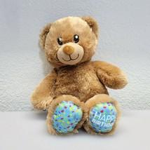 """Build a Bear Plush Happy Birthday Brown Teddy Bear Blue Feet 12"""" Stuffed... - $15.76"""