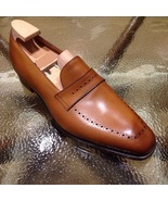 Handmade Men Tan brown Brogue leather shoes, Men leather moccasins loafe... - $169.99