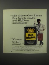 1990 Best Western Motel Ad - Yakov Smirnoff - With a mature guest rate - $14.99