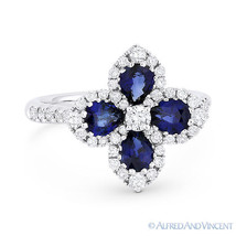 2.08 ct Pear-Shape Sapphire & Diamond Pave 18k White Gold Right-Hand Flo... - £1,855.97 GBP