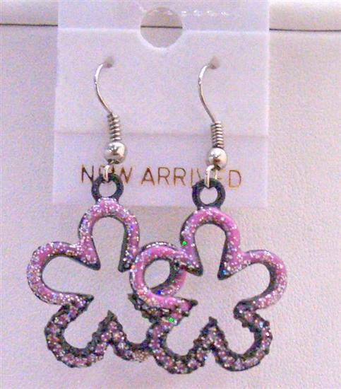 Pink Flower Earrings Pink Glitter Flower Earrings Pink Enamel Earrings