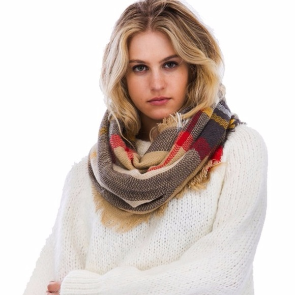 Brown Plaid Pattern Fringe Infinity Scarf  image 1