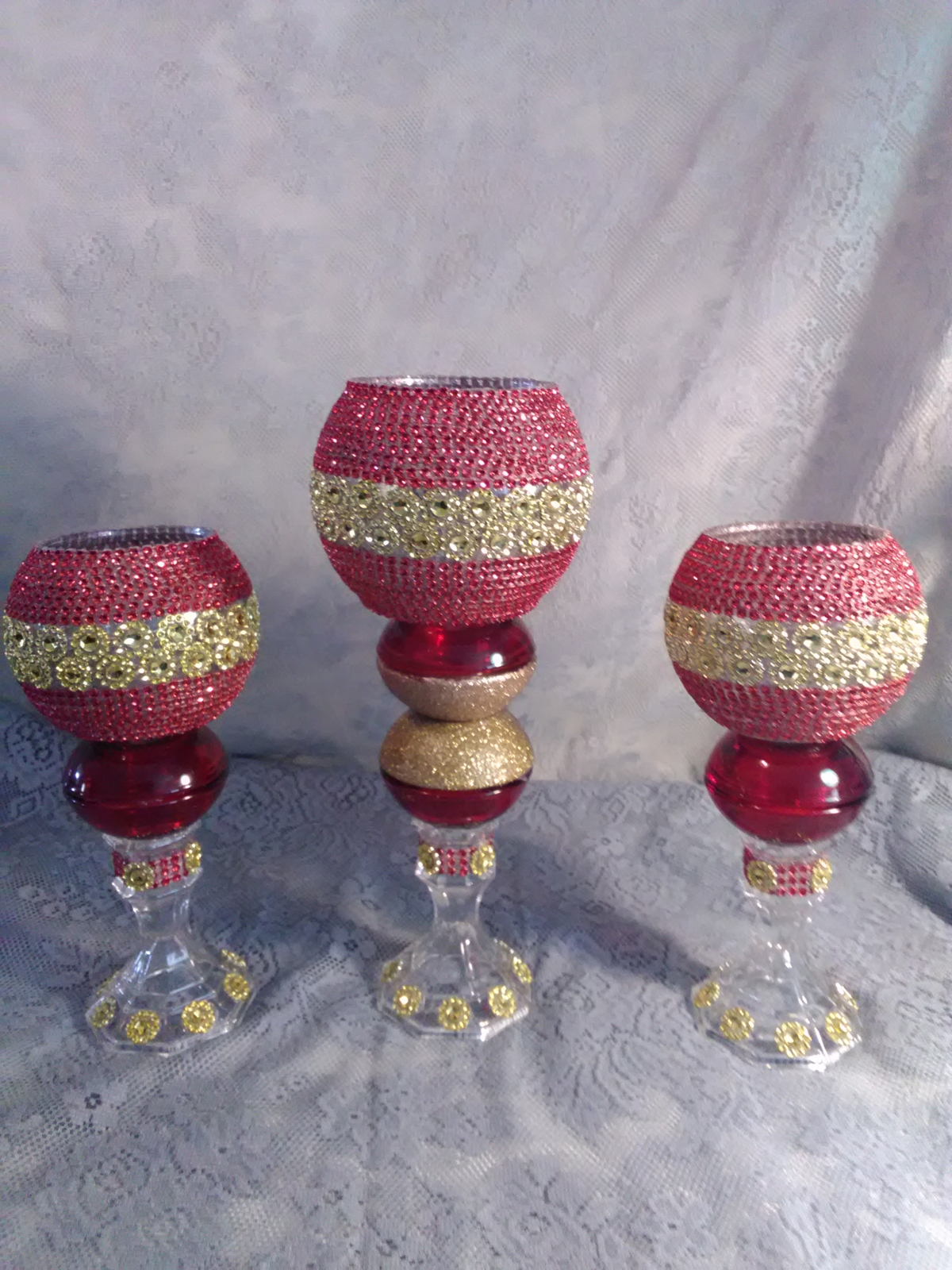 Primary image for 3pc. Red & Gold  Candleholder Set
