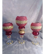 3pc. Red & Gold  Candleholder Set - $78.09