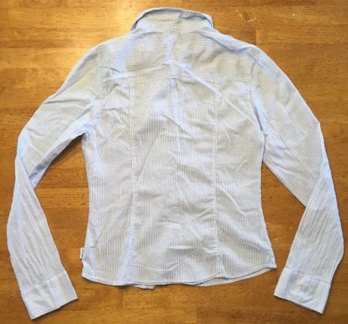 Abercrombie Girl's Blue & White Striped Long Sleeve Dress Shirt - Size XL image 12