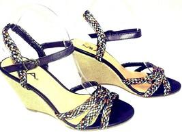 MIA Espadrille Sandals 9M High Wedge Strappy Braided Fabric Metallic Earth Tones - $23.04