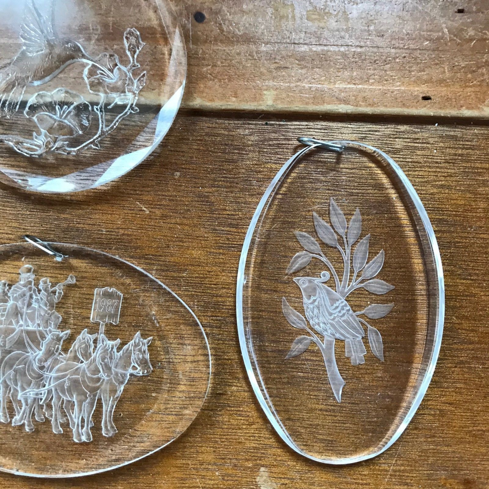 Estate Lot of Reverse Carved Clear Plastic Acrylic DEER Partridge in Pear Tree