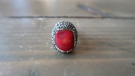 Gold Over STERLING SILVER Red Sea Coral Marcasite Adjustable Ring - $29.69