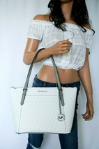 MICHAEL KORS CIARA LARGE EW TOP ZIP TOTE SHOULDER BAG MK BRIGHT WHITE GREY - $108.90