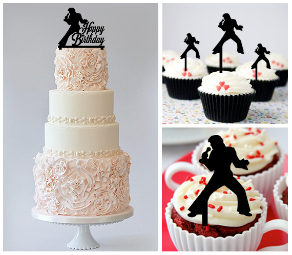 Birthday Cake topper,Cupcake topper,silhouette rock and roll Package : 11 pcs
