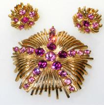 Vintage Lisner 2 Tone Hot Pink Rhinestone Brooch Pin Clip Back Earrings ... - $53.99