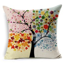 Popeven® Four Seasons Flower Print Throw Pillow Covers Sofa Cushion Cover - $20.00