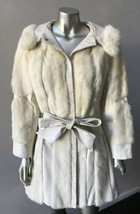Mink Fur Cross Leather Vintage Hooded Belt White Tourmaline Cream JacKet... - $465.28