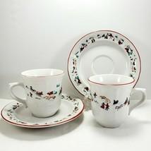 Farberware White Christmas Cup & Saucer 8oz Set of 2 Holiday Snow Scene 391 - $7.43