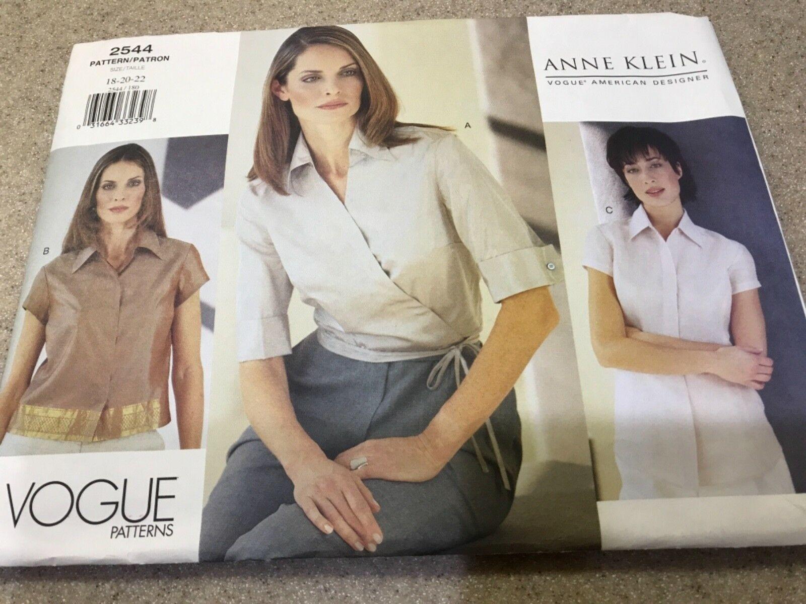 Uncut Anne Klein Vogue Designer 2544 Plus18 20 22 shirt blouse 3 styles blouses