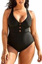 FlatterMe Women's Sexy Plus Size Black One Piece Swimsuit,Plunge Neckline with L