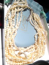 Simon + Ross Multi Strand Natural Pearl Choker Necklace Sterling Silver in Box - $130.50