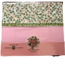 American Greetings 1982 Stationery Set 15 Self Mailers And Seals Floral ... - $14.13