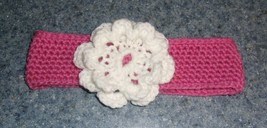 Brand New Crocheted Pink and White Flower Design Dog Collar LARGE 4 Dog ... - $10.49