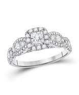 14kt White Gold Princess Diamond Halo Bridal Wedding Engagement Ring 1-1... - £1,291.63 GBP