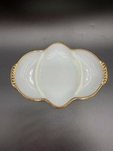 Vintage  FIRE KING Ovenware Milk Glass Divided Dish With Gold Trim - $21.73