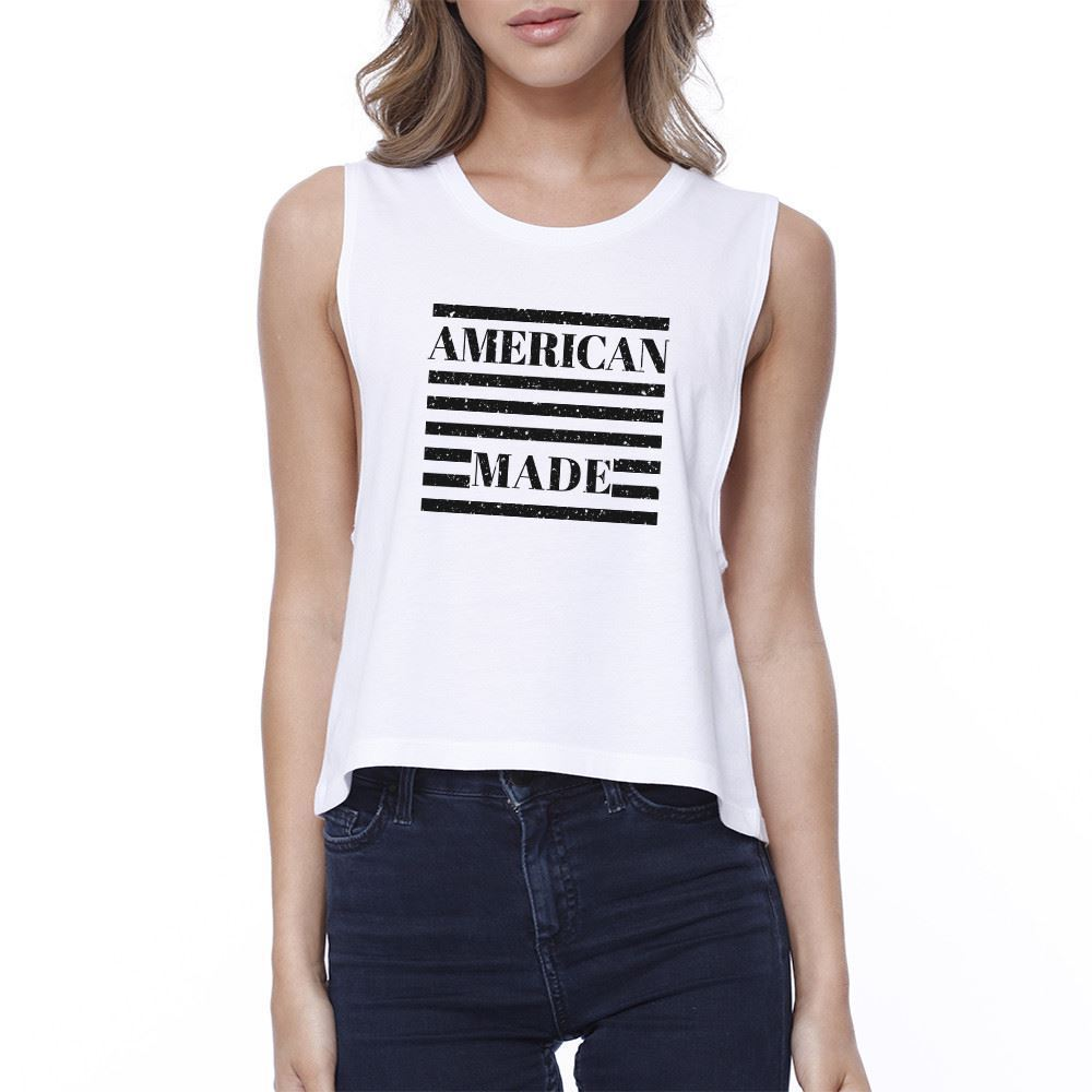 American Made Cute Design 4th of July Decorative Crop Top Cotton - $14.99